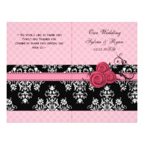 pink polka dots floral book fold Wedding program