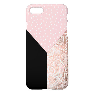 Pink polka dots floral rose gold hand drawn block iPhone 7 case