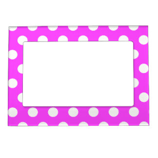 Pink Polka Dots - Girly Picture Magnetic Frame