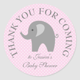 Pink polka dots grey elephant baby shower stickers