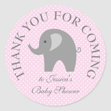 Toddler & Baby themed Pink polka dots grey elephant baby shower stickers