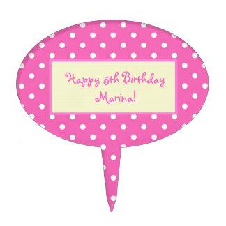 pink polka dots,happy birthday cake picks