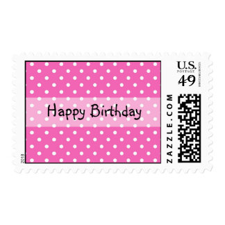 pink polka dots, happy birthday stamps postage