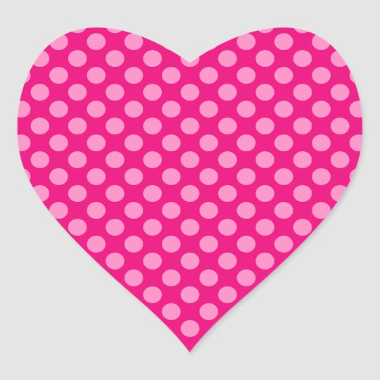 Pink Polka Dots Heart Sticker