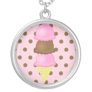 Pink Polka Dots Ice Cream Cone Necklace
