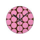 Pink Polka Dots Kitchen Decor Accessories Round Wallclock