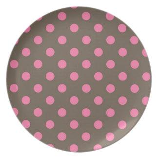 Pink Polka Dots Kitchen Decor Accessories Dinner Plate