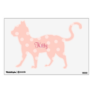 Pink Polka Dots Kitty Wall Sticker