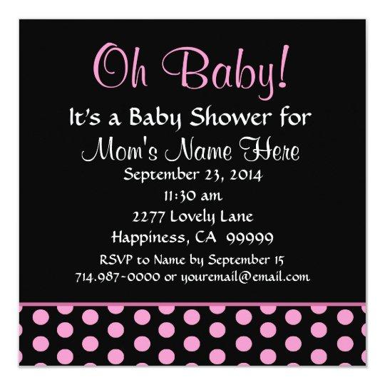 Pink Polka Dots Little Girl Baby Shower Card