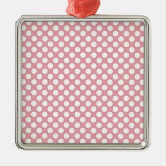 Pink Polka Dots Metal Ornament