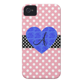 Pink polka dots monogram blue roses Case-Mate iPhone 4 cases