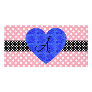 Pink polka dots monogram blue roses photo card