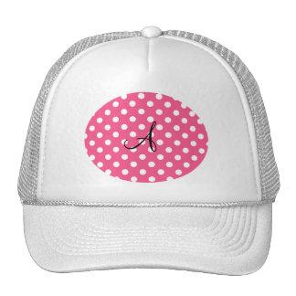 Pink polka dots monogram trucker hat