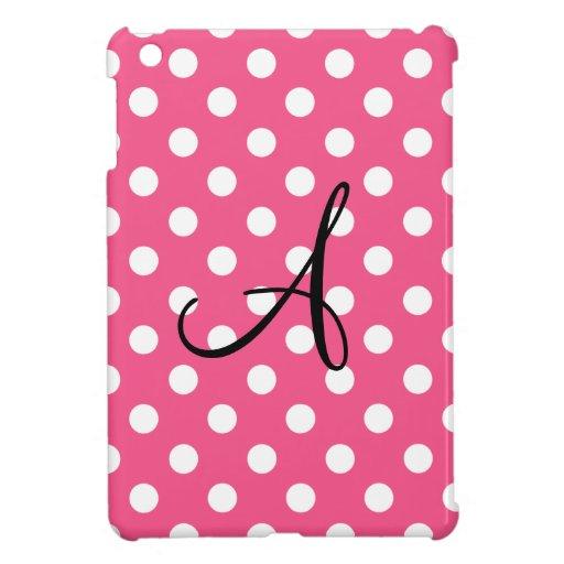 Pink polka dots monogram iPad mini cases