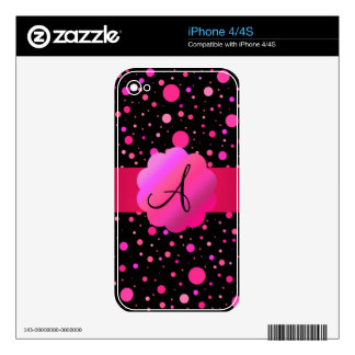 Pink polka dots monogram iPhone 4 decal