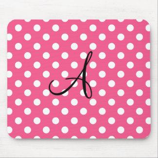 Pink polka dots monogram mouse pad