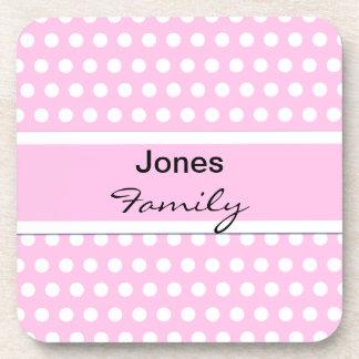 Pink Polka Dots Monogram Pattern Beverage Coaster