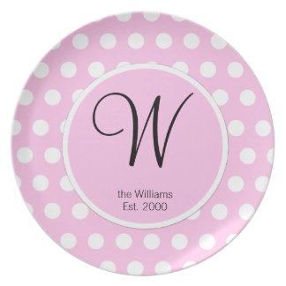 Pink Polka Dots Monogram Pattern Plate