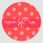Pink polka dots monogram stickers