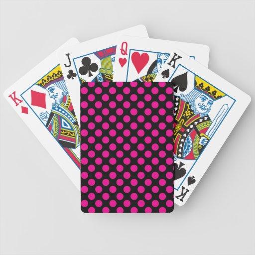 Pink Polka Dots on Black (Large) Card Decks