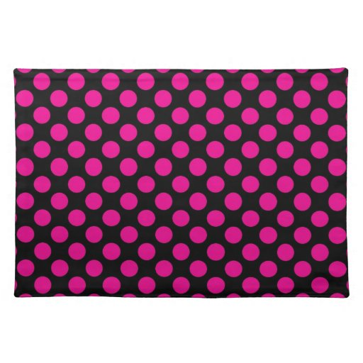 Pink Polka Dots on Black (Large) Cloth Placemat