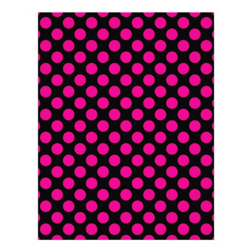 Pink Polka Dots on Black (Large) Letterhead Template