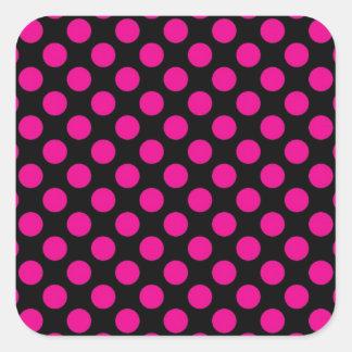 Pink Polka Dots on Black (Large) Square Sticker