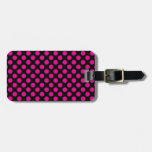 Pink Polka Dots on Black (Large) Tags For Luggage