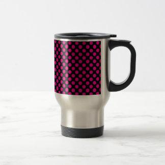 Pink Polka Dots on Black (Large) Travel Mug