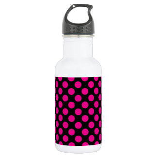 Pink Polka Dots on Black (Large) Water Bottle