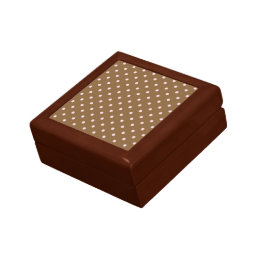 Pink Polka Dots On Brown Background Gift Box