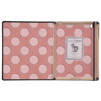 Pink Polka Dots on Coral Leather Texture iPad Covers