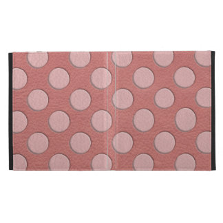 Pink Polka Dots on Coral Leather Texture iPad Folio Cover