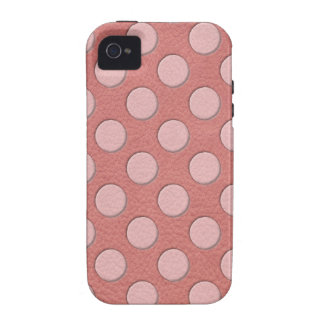 Pink Polka Dots on Coral Leather Texture Vibe iPhone 4 Cases
