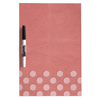 Pink Polka Dots on Coral Leather Texture Dry Erase Whiteboards