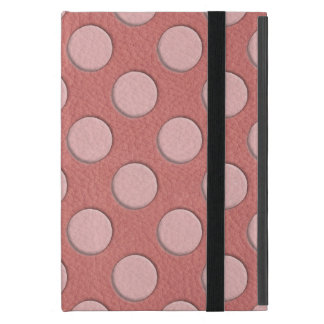 Pink Polka Dots on Coral Leather Texture Cover For iPad Mini