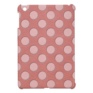 Pink Polka Dots on Coral Leather Texture Case For The iPad Mini