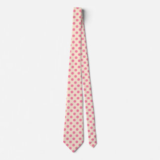 Pink polka dots on cream tie