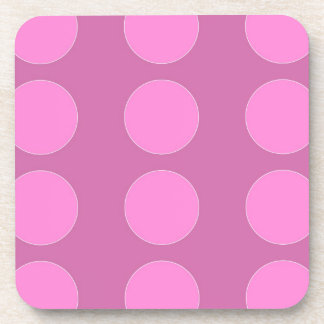 Pink Polka Dots on Darker Pink Pattern Gifts Coaster