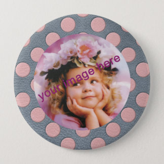 Pink Polka Dots on Grey Leather Print Button