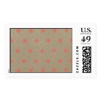 Pink Polka Dots on Natural Vintage Speckled Beige Postage Stamps