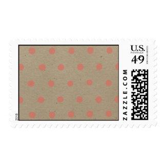 Pink Polka Dots on Natural Vintage Speckled Beige Postage