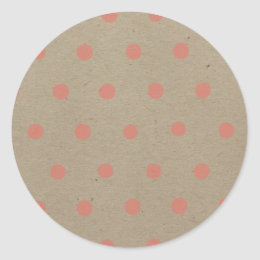 Pink Polka Dots on Natural Vintage Speckled Brown Classic Round Sticker