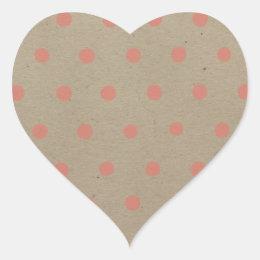 Pink Polka Dots on Natural Vintage Speckled Brown Heart Sticker