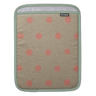 Pink Polka Dots on Natural Vintage Speckled Brown iPad Sleeve