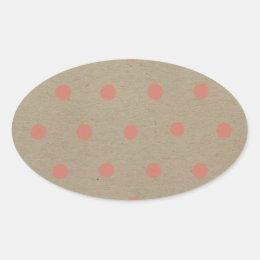 Pink Polka Dots on Natural Vintage Speckled Brown Oval Sticker