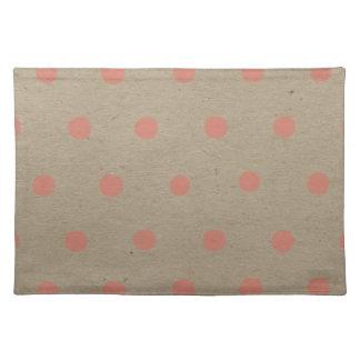 Pink Polka Dots on Natural Vintage Speckled Brown Place Mats