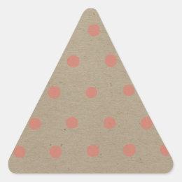 Pink Polka Dots on Natural Vintage Speckled Brown Triangle Sticker