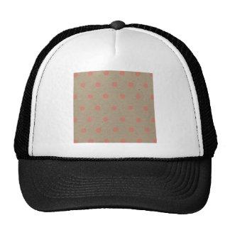Pink Polka Dots on Natural Vintage Speckled Brown Trucker Hat