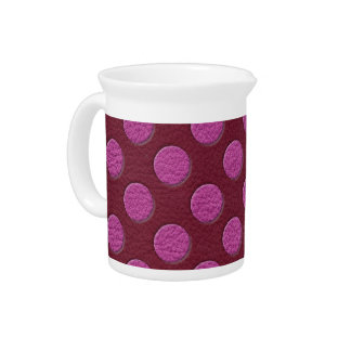 Pink Polka Dots on Red Wine Leather print Beverage Pitcher